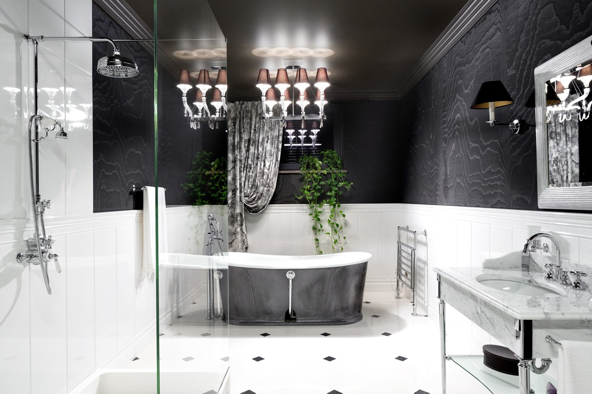 Elegant Black and White Bathroom Interior with Patterned Black Wall and White Wall Paneling