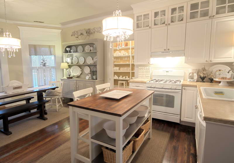 Elegant Drum Shaded Crystal Chandeliers Decorating White Kitchen with Simple Portable Kitchen Island and White Stools