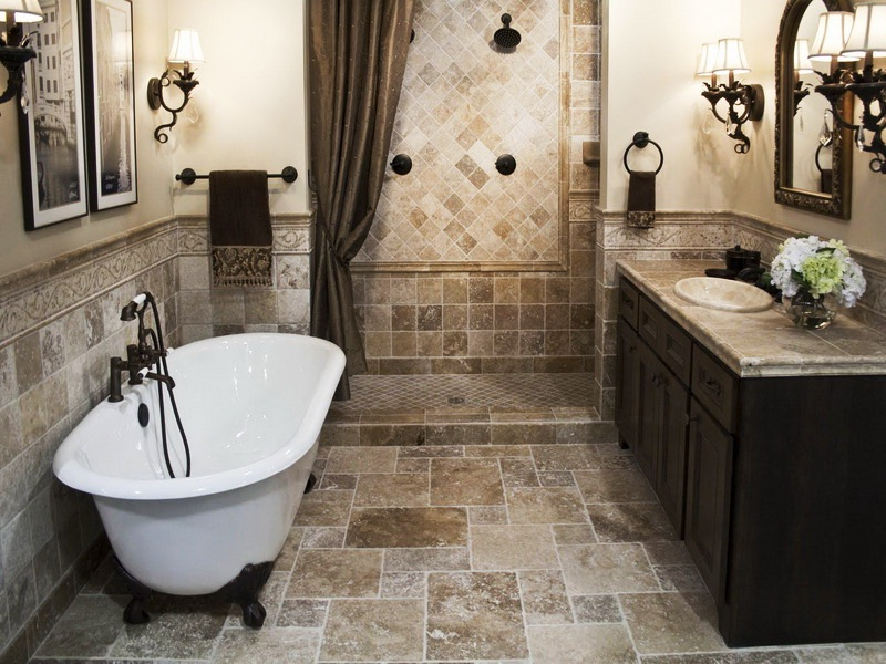 Elegant Small Bathroom Remodeling with Stone Tiles Installed for Flooring and Walling