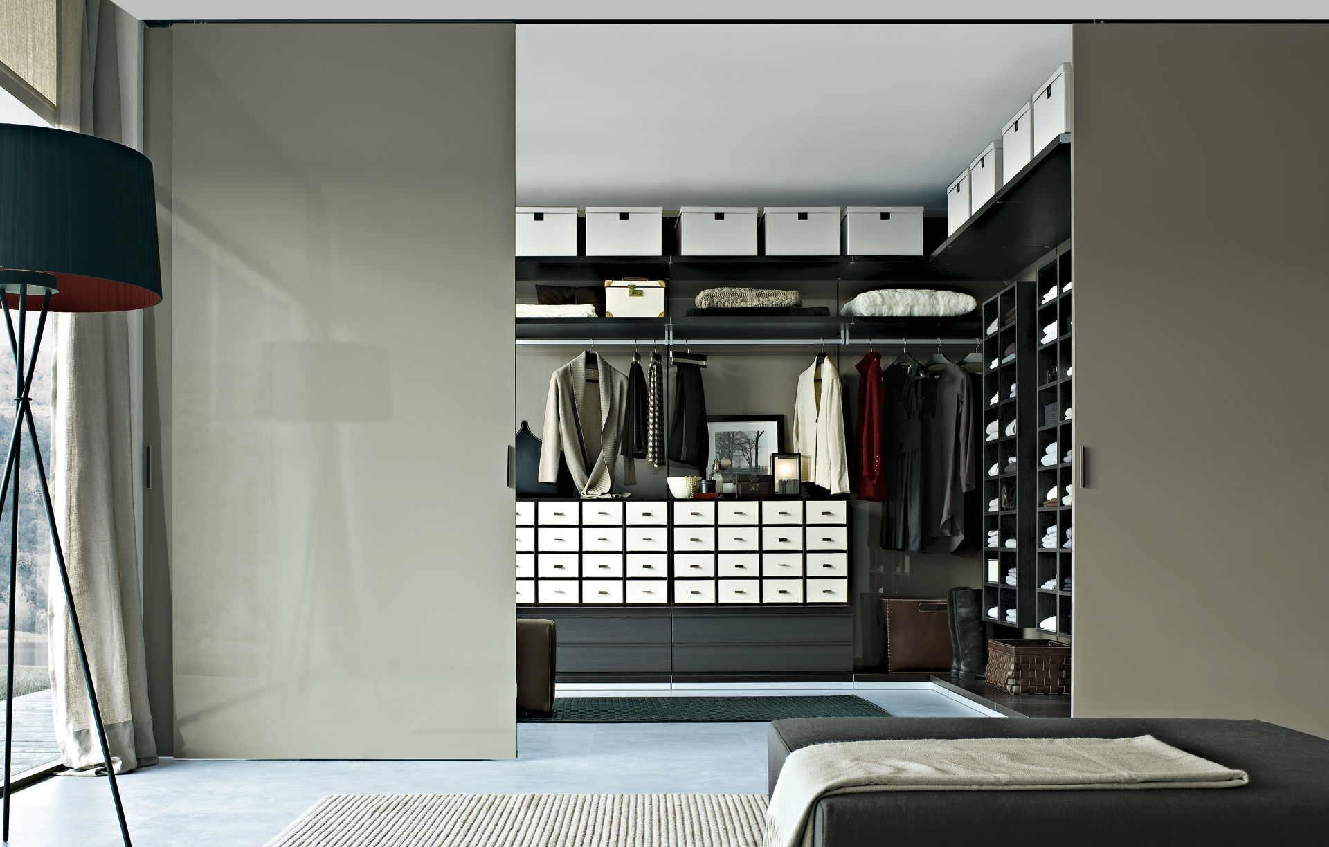 Delicieux Elegant Walk In Closet Ideas With Drawers And Baskets Closed With Grey  Sliding Door