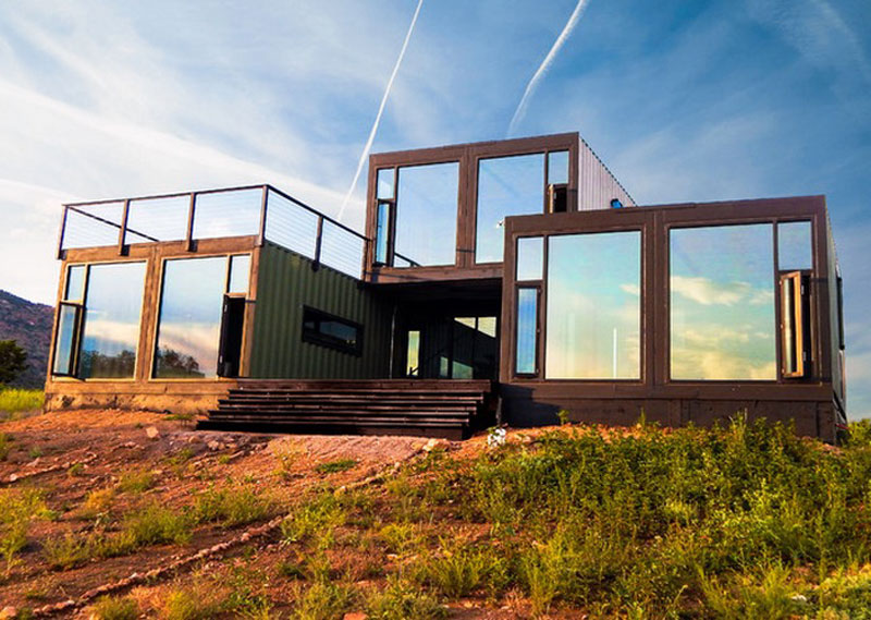 Enchanting Reflective Glass Windows and Doors for Minimalist Storage Container Homes with Flat Roof
