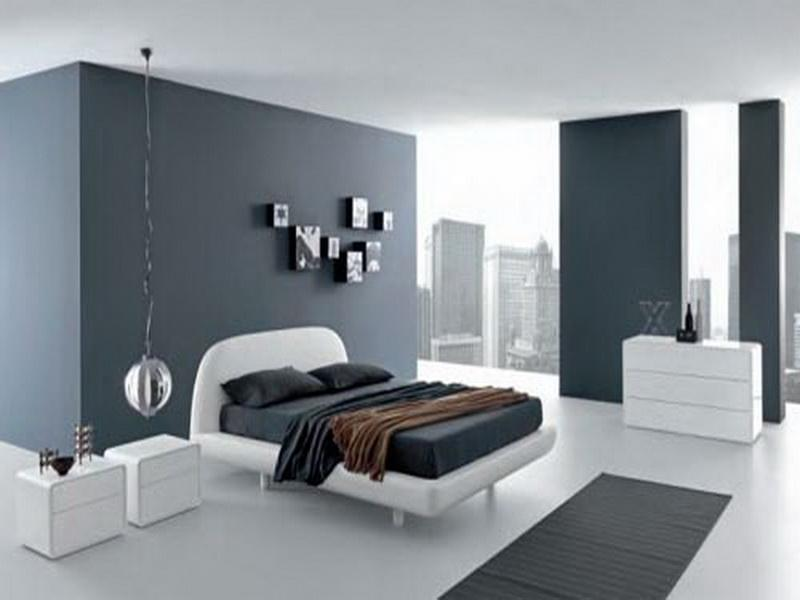 Enjoy City View from Modern Bedroom using Grey Bedroom Paint Colors beside White Bed and Nightstands
