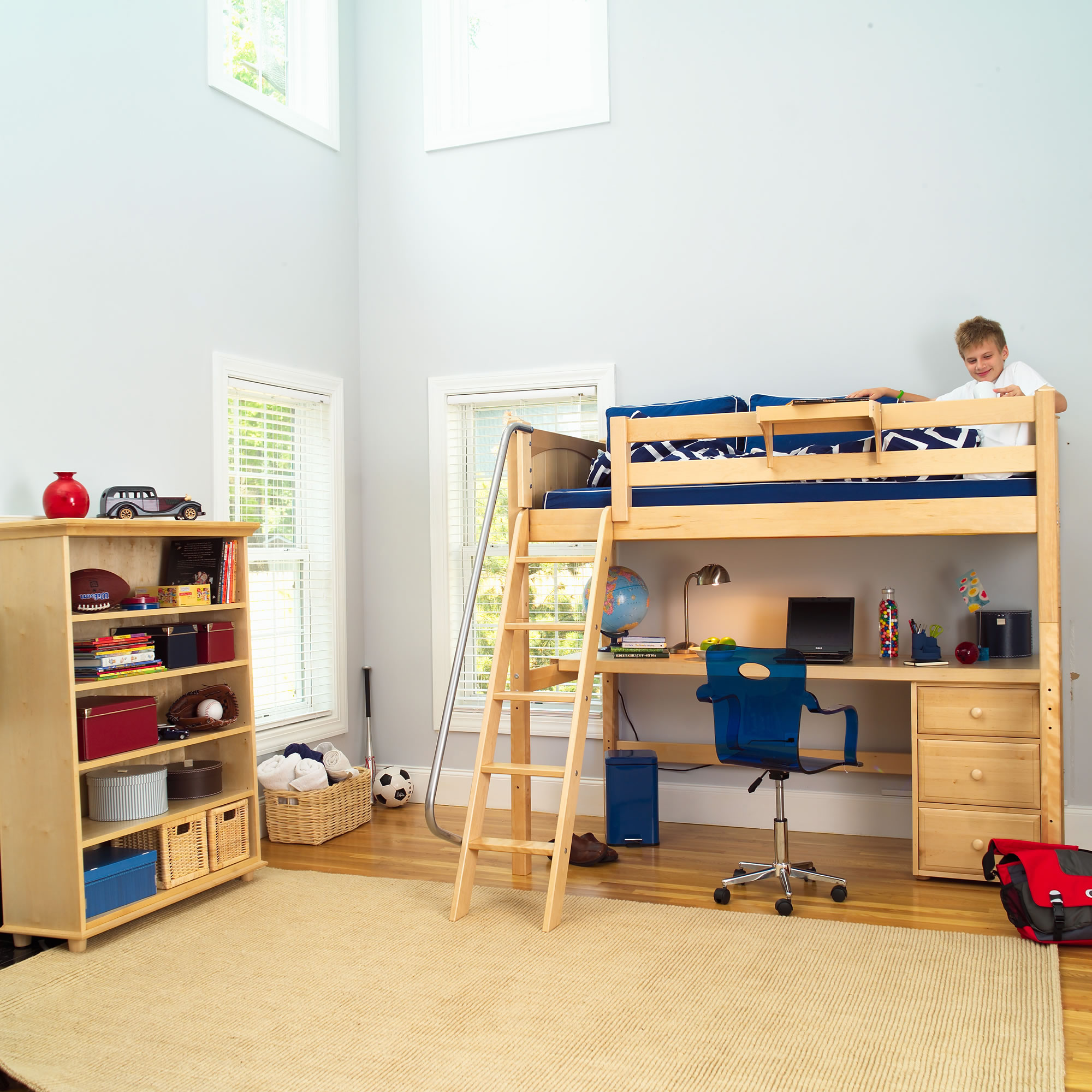 Enjoy Playing and Studying inside Wide Bedroom using Oak Bunk Bed with Desk and Blue Acrylic Chair