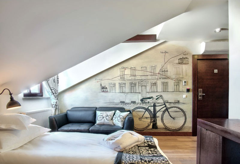 Excellent Attic Bedroom for Teen with Living Space Decorated with Unique Mural