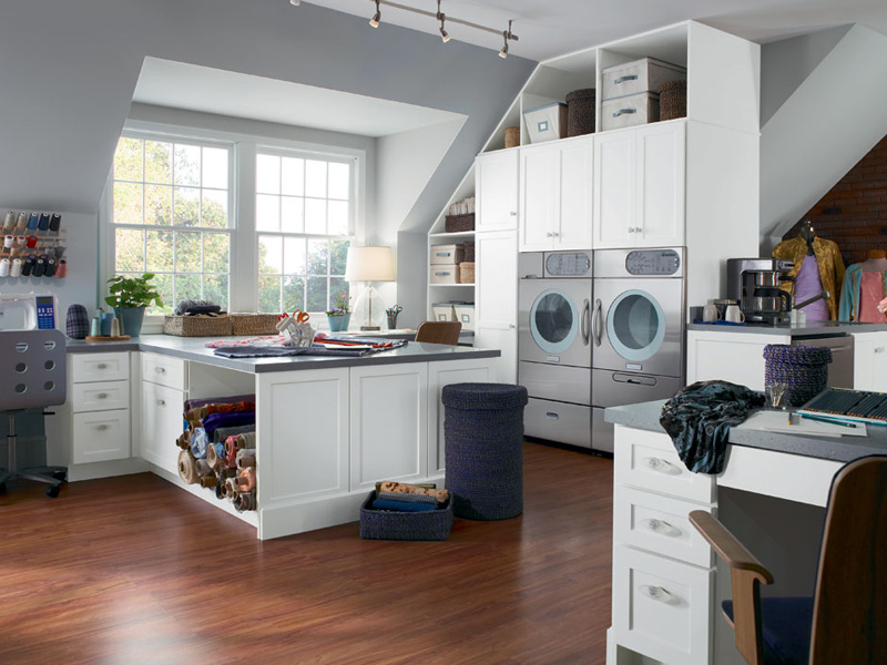 Excellent Grey and White Combination for Craft Room Interior Idea with French Windows