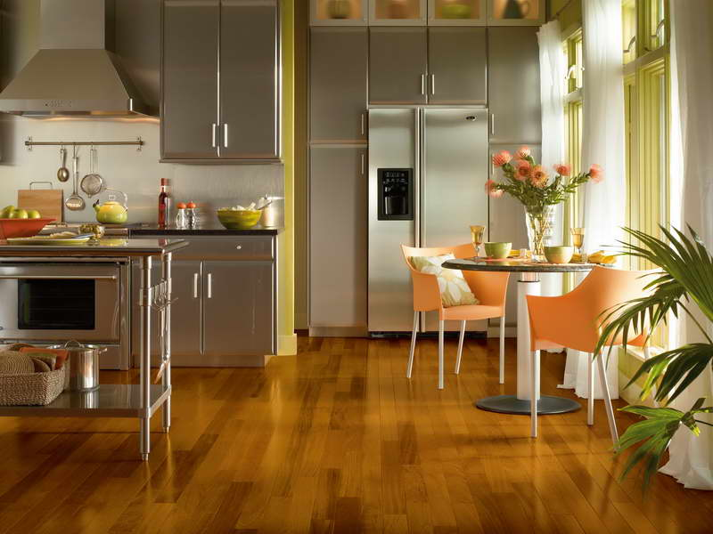 Excellent Kitchen Floor Plan with Stainless Steel Cabinets with Island and Dining Space Next to Window