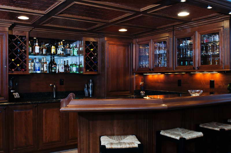 Excellent Lighting Idea Of Basement Bar With Ceiling Lamps And Lights Under  Cabinet