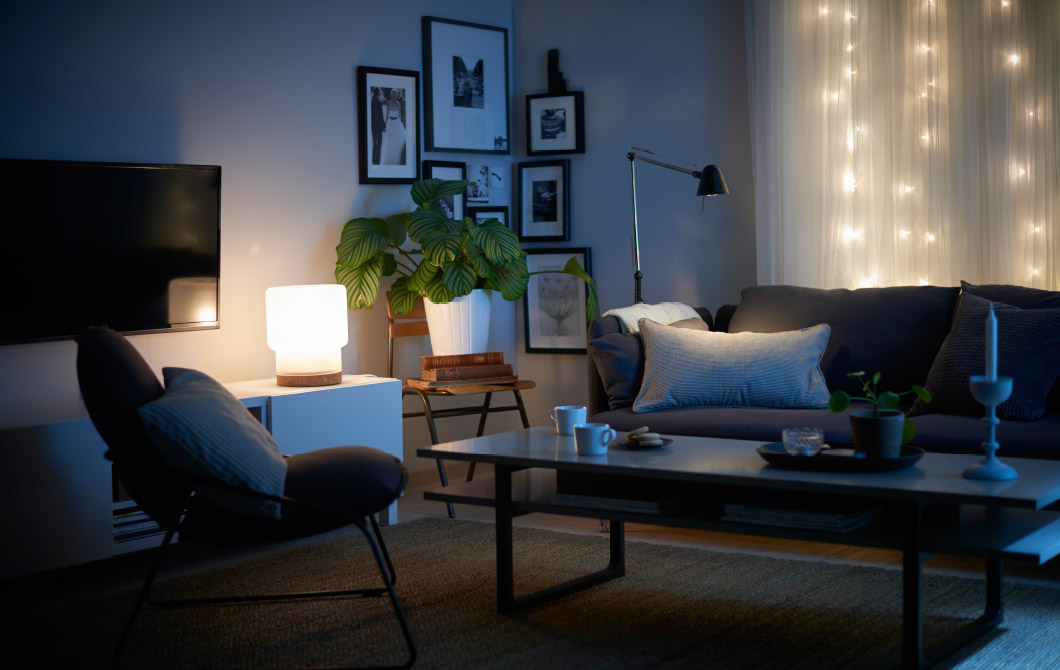 Excellent Soothing Decorative Lighting for Living Room During the Night with Wall and Table Lamps