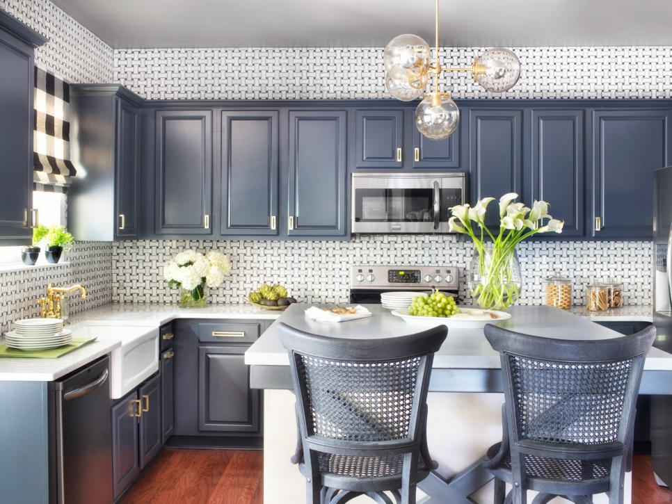 Extended Patterned Backsplash to Meet Sleek Grey Refinished Kitchen Cabinets and Island