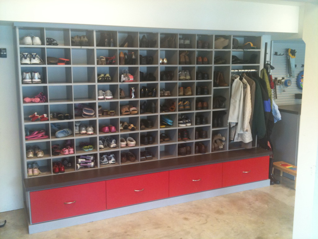 4 garage shelving ideas you haven t thought about midcityeast extra shelving unit with hanger to keep shoes slippers and coat or jacket