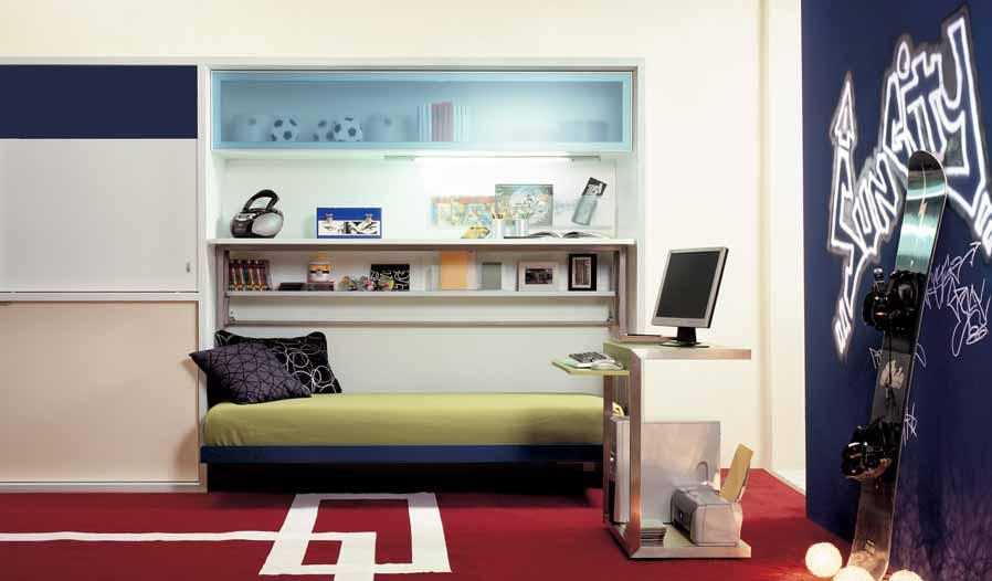 Eye Catching Blue Graffiti And Smart Skateboard Shelf Completing Minimalist Teen  Bedroom · Fascinating Blue Bedroom Ideas ...