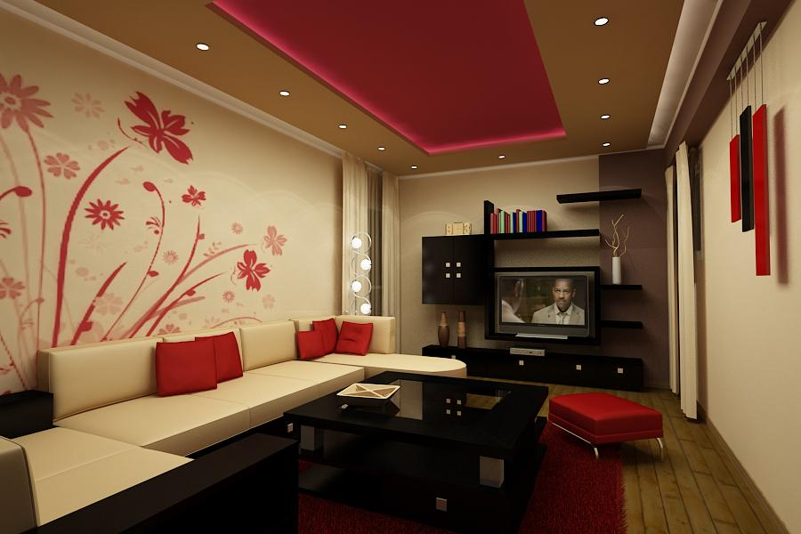 Eye Catching Wall Mural in Floral Theme Decorating Small Living Room Interior with Soothing Lighting