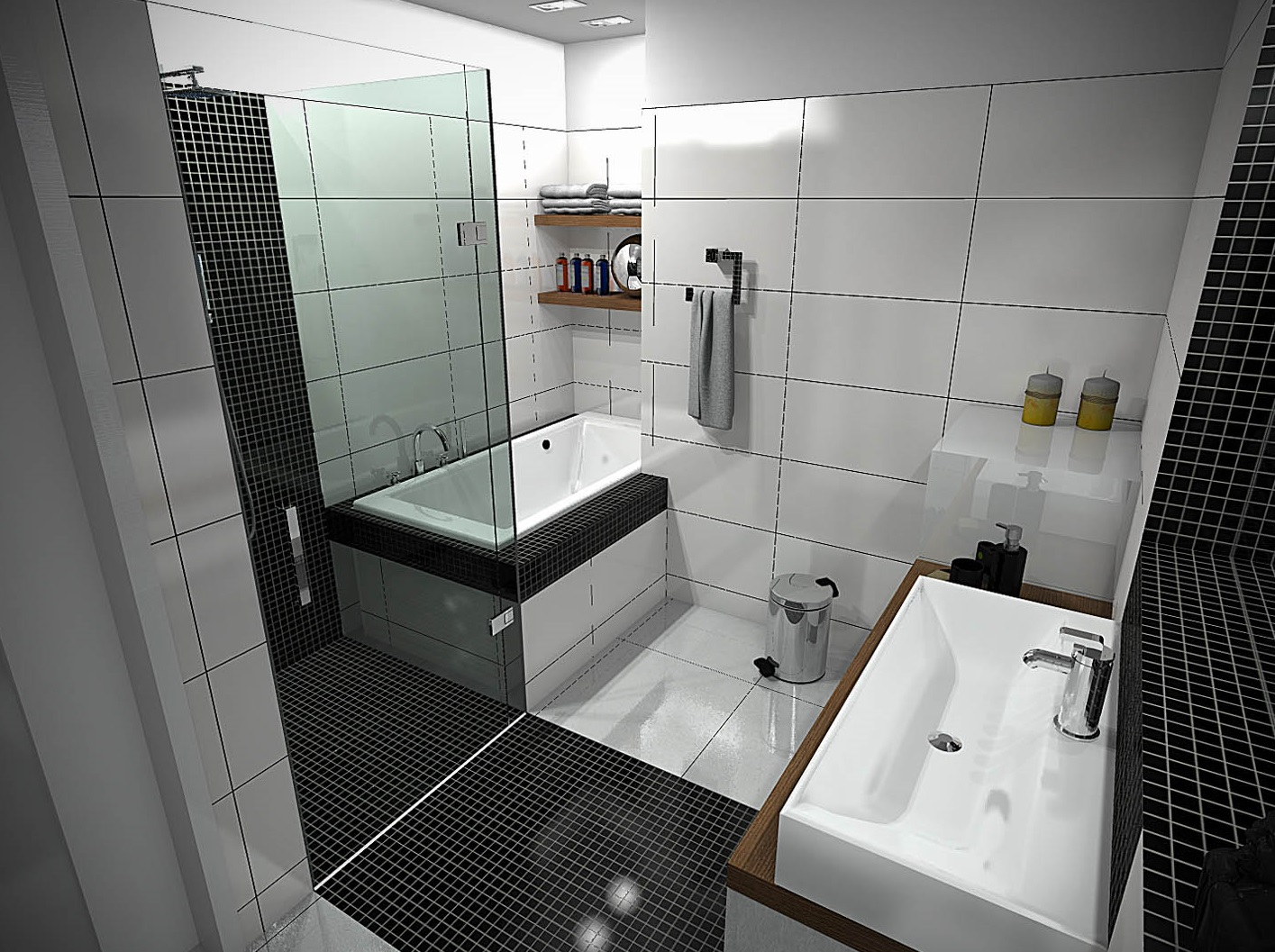 Fabulous Black and White Small Bathroom Designs with Excellent Tiles Dimension