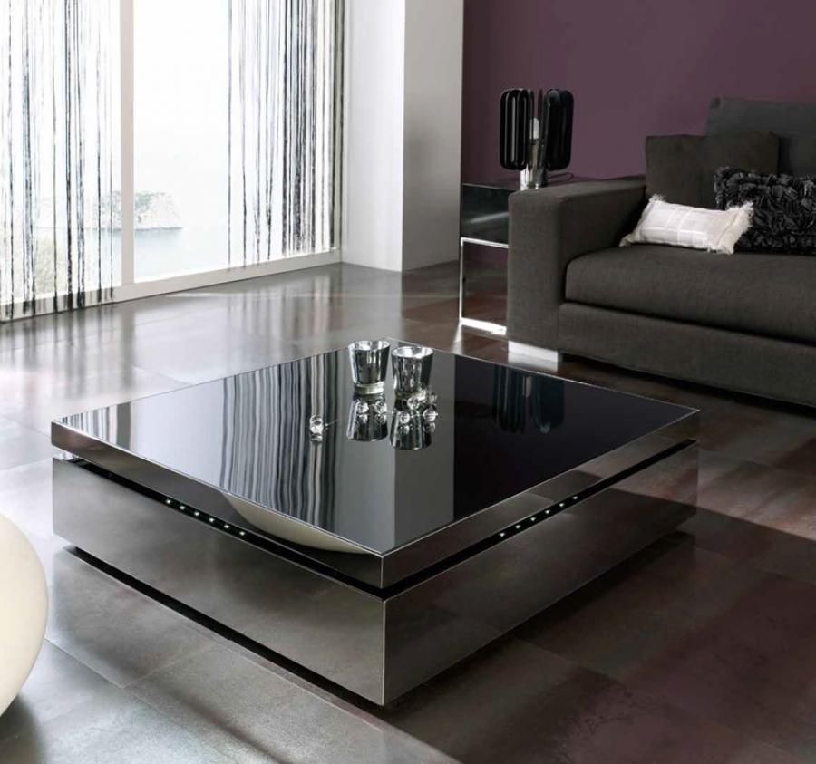 Fantastic Reflective Top on Grey Modern Coffee Table Decorating the Enchanting Living Room with Fluffy Sofa