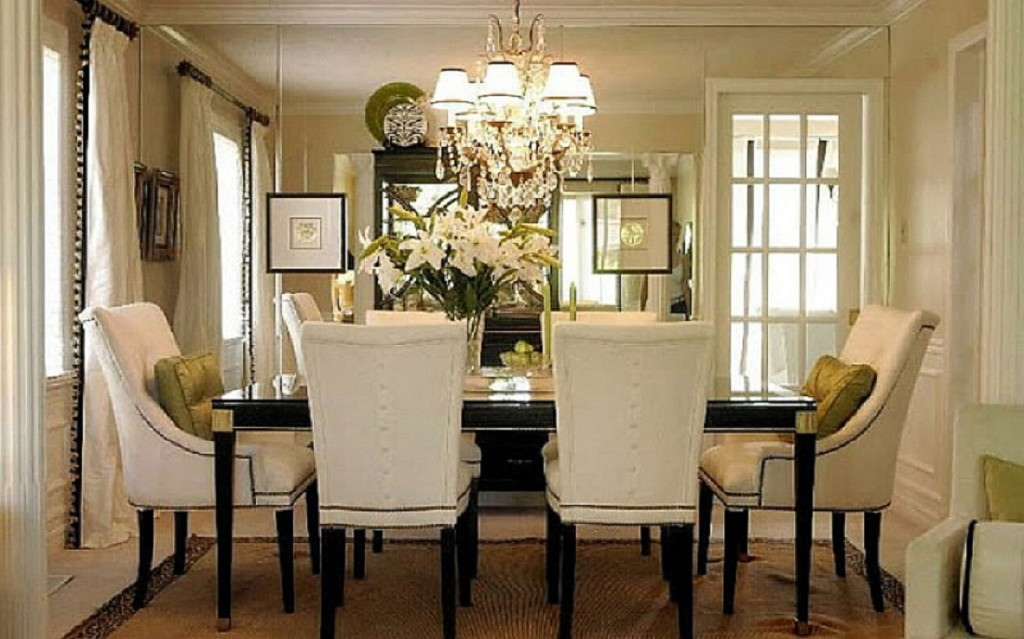 Crystal Dining Room Chandelier Fantastic Tufted Chairs Around Dark Table For Impressive With Classic