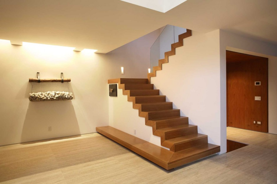 Fascinating Light Wood Basement Flooring to Meet White and Wood Accents of Basement Interior