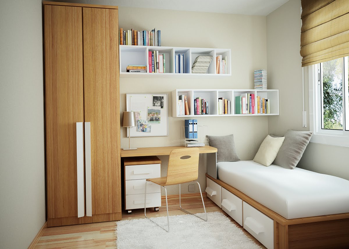 Fill Floating White Bookshelves above Wooden Desk and Single Bed for Small Bedroom Ideas