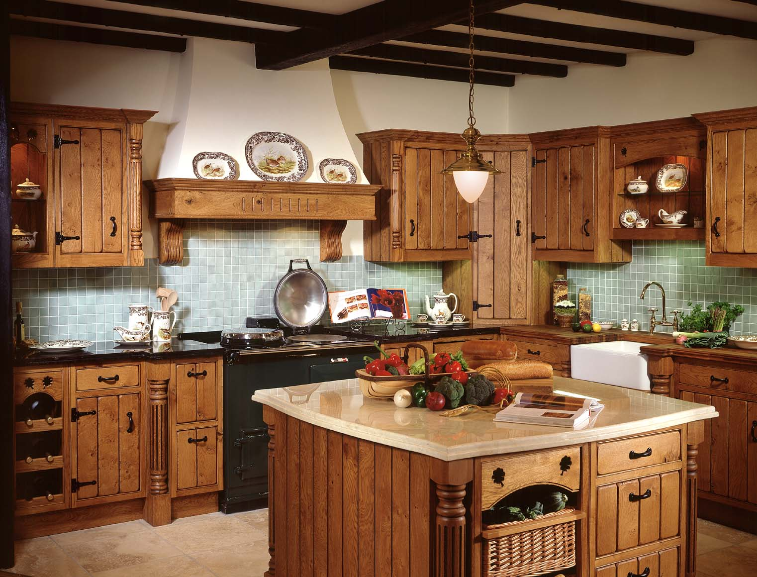 Fill Rustic Kitchen Decorating Ideas With Wooden Island And Old Fashioned  Counter Under Wooden Beams