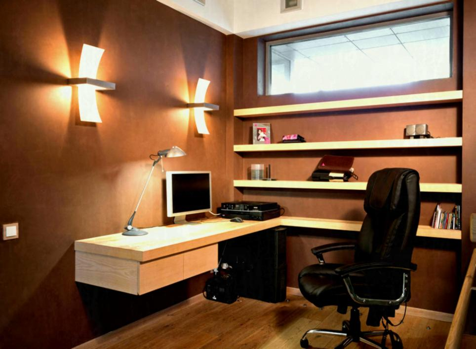 Fill Tiny Area using Best Home Office Ideas with Floating Computer Desk and Dark Leather Swivel Chair