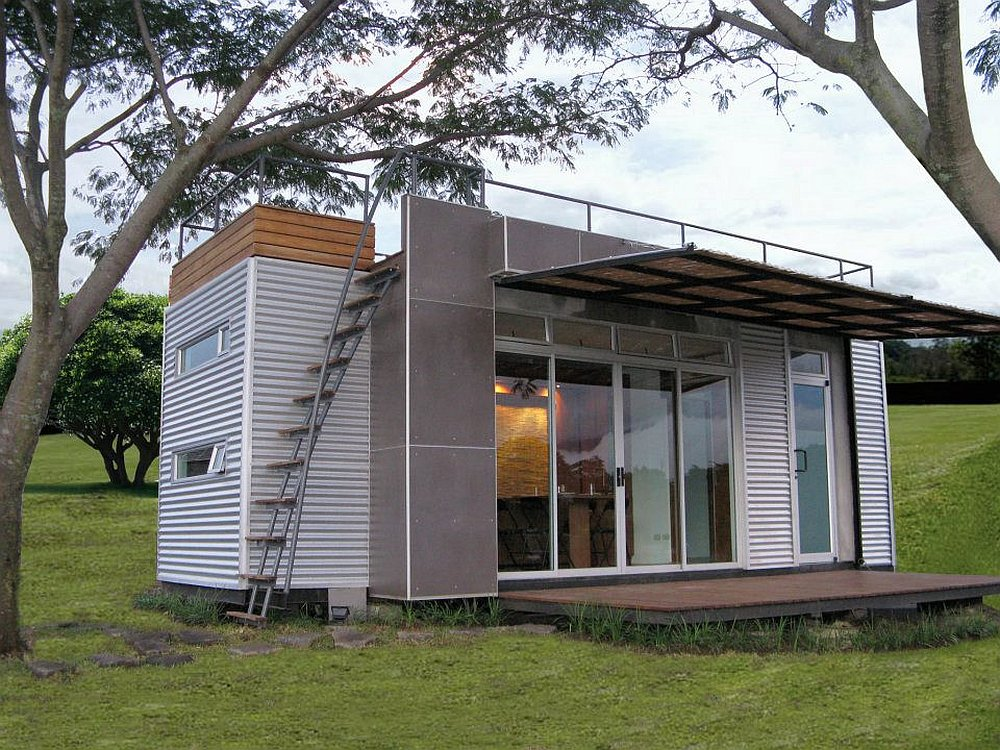 Flat Roof and Outdoor Stairs Installed outside Grey Storage Container Homes with Wide Canopy Pergola