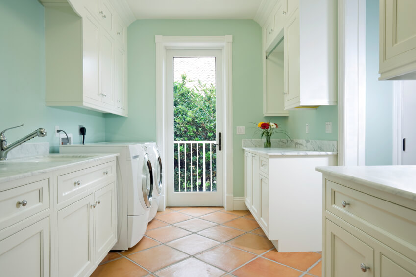 Floating Cabinets And Long Sink Completing Brilliant Laundry Room Ideas  With White Washing Machines