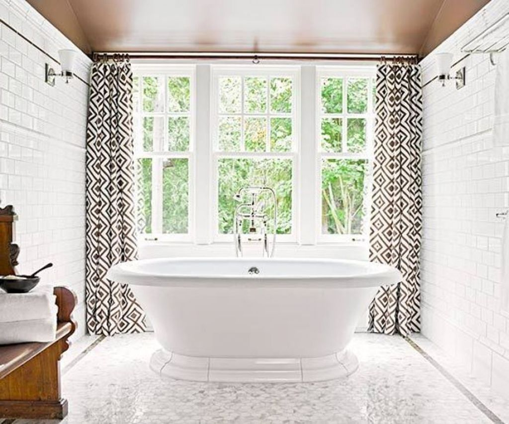 Floor To Ceiling Bathroom Window Curtains On White Framed Windows Decorating  Small Bathroom With White Bathtub