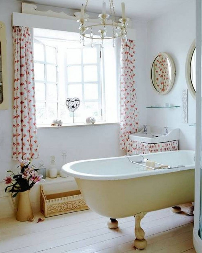 Flowery Bathroom Window Curtains on White Framed Windows Completing Classic Room with White Bathtub