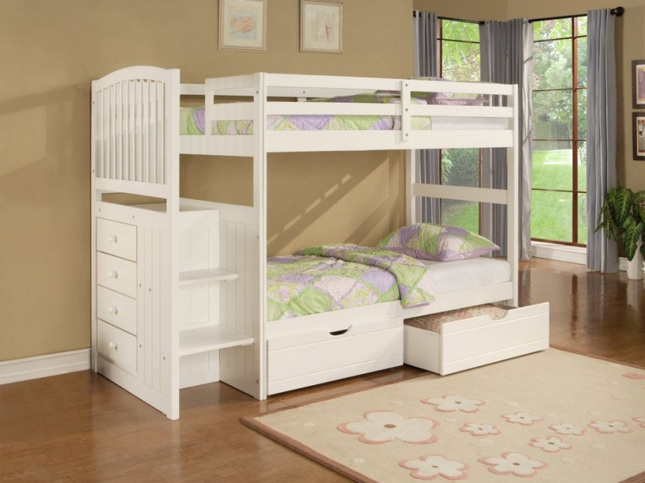 Flowery Carpet and White Bunk Beds for Girls inside Simple Bedroom with Laminate Hardwood Flooring