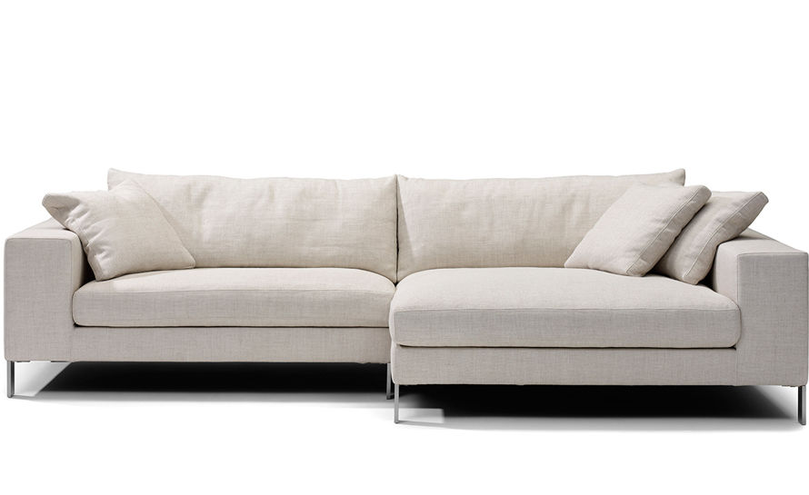 Fluffy Square Cushions on Interesting Small Sectional Sofa for Appealing Room with White Flooring