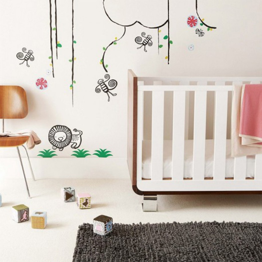 Fun Decorative Wall Mural And Minimalist Furnishing For Baby Boy Room