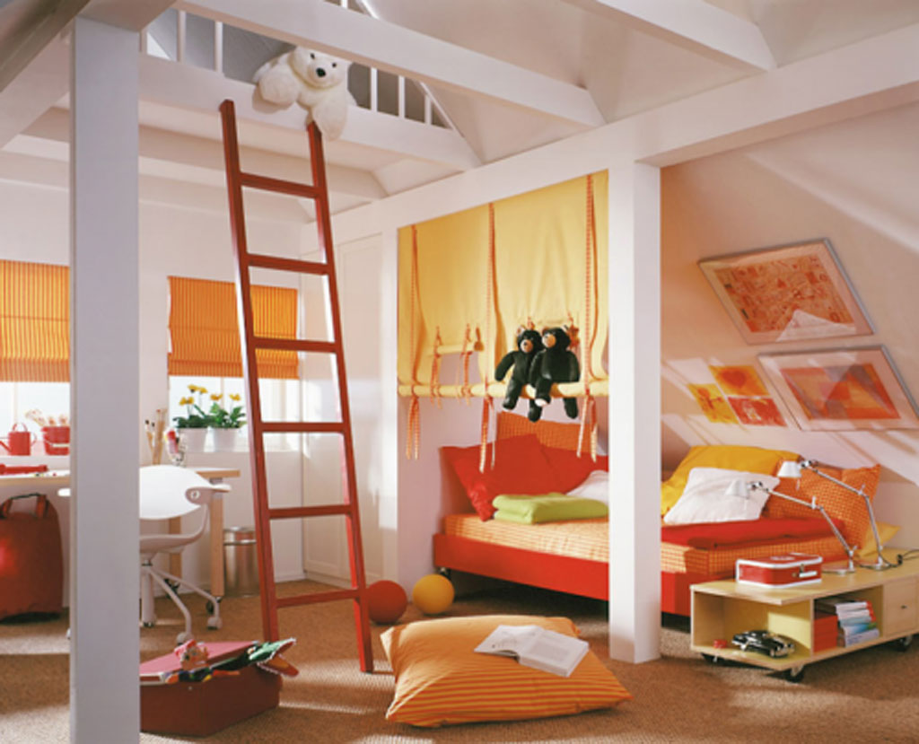 fun kids bedroom ideas with extra room in the attic connected through ladder - Bedroom Fun Ideas