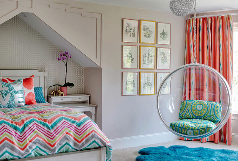 Fun Teen Bedroom Idea with the Addition of Swing Chair and Colorful Bed