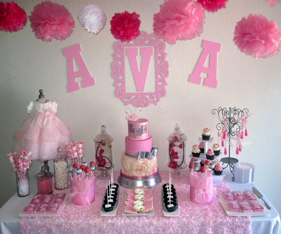 Girl Birth Day Party With DIY Decoration In Full Pink Theme With Displayed  Cakes On Table