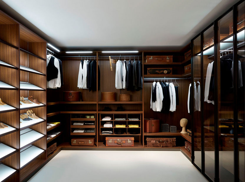 Glass Doors for High Wardrobe Cabinets inside Wonderful Walk In Closet with Wooden Shelves