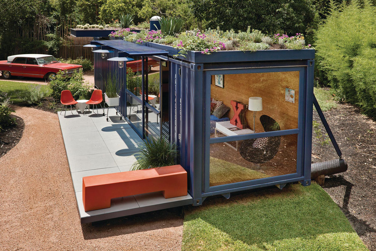 Beau Glass Wall And Plants Roof Decorating Blue Storage Container Homes With  Concrete Patio And Orange Bench