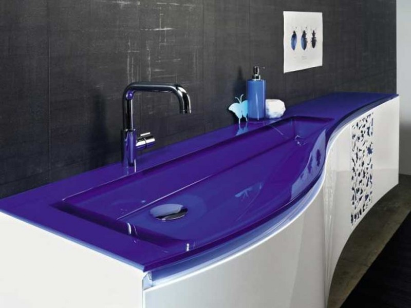 Glossy Top and Wide Sink on Stylish Small Bathroom Vanities inside Futuristic Room with Grey Wall