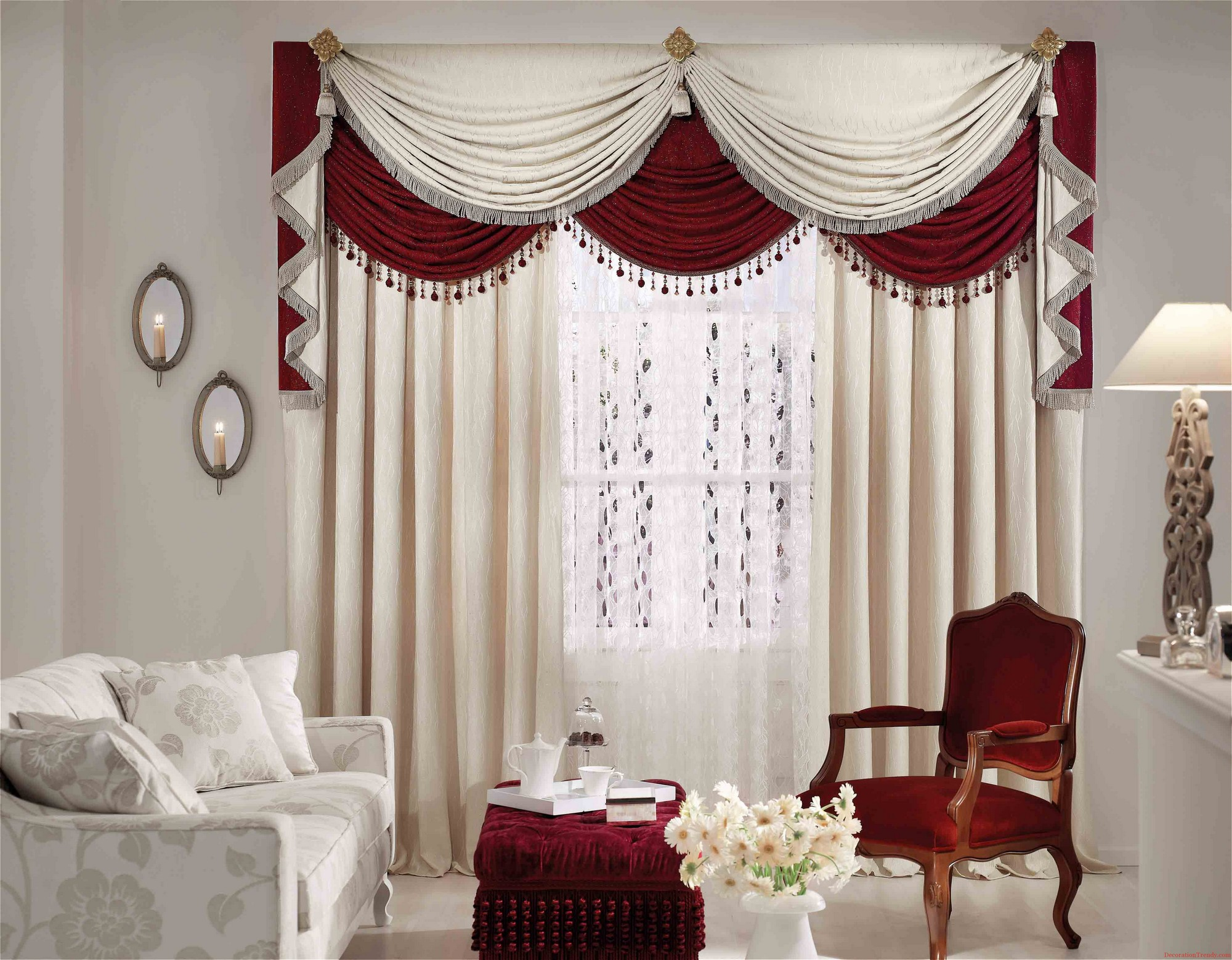 Gorgeous Living Room Curtains facing White Flowery Sofa and Red Chair beside Tufted Ottoman