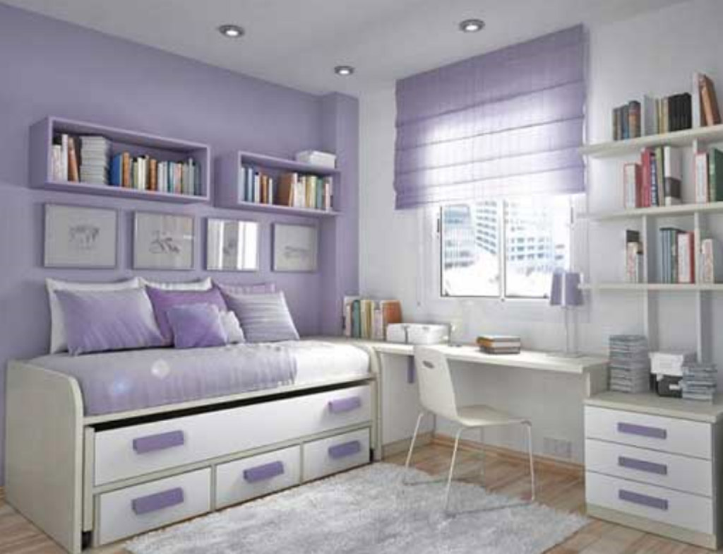 Etonnant Gorgeous Teenage Bedroom Ideas With Purple And White Decoration And Simple  Book Shelves