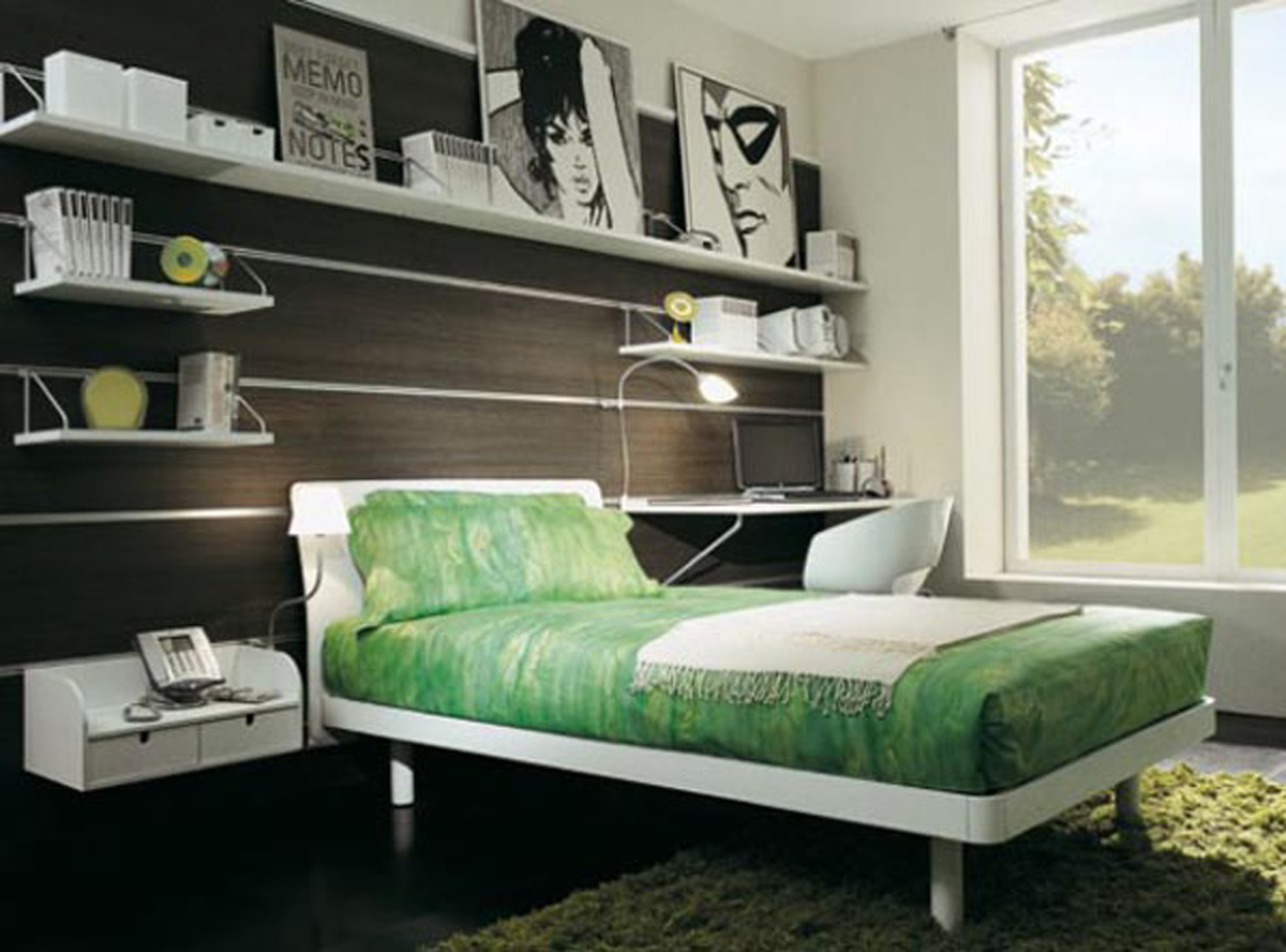 Green Bedding on White Bed Placed in Minimalist Bedroom Decorating Ideas with White Shelves