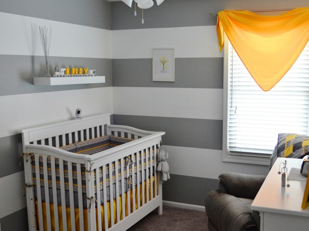 Grey Baby Nursery Interior with Surprising Touch of Yellow Tones and White Fan Light