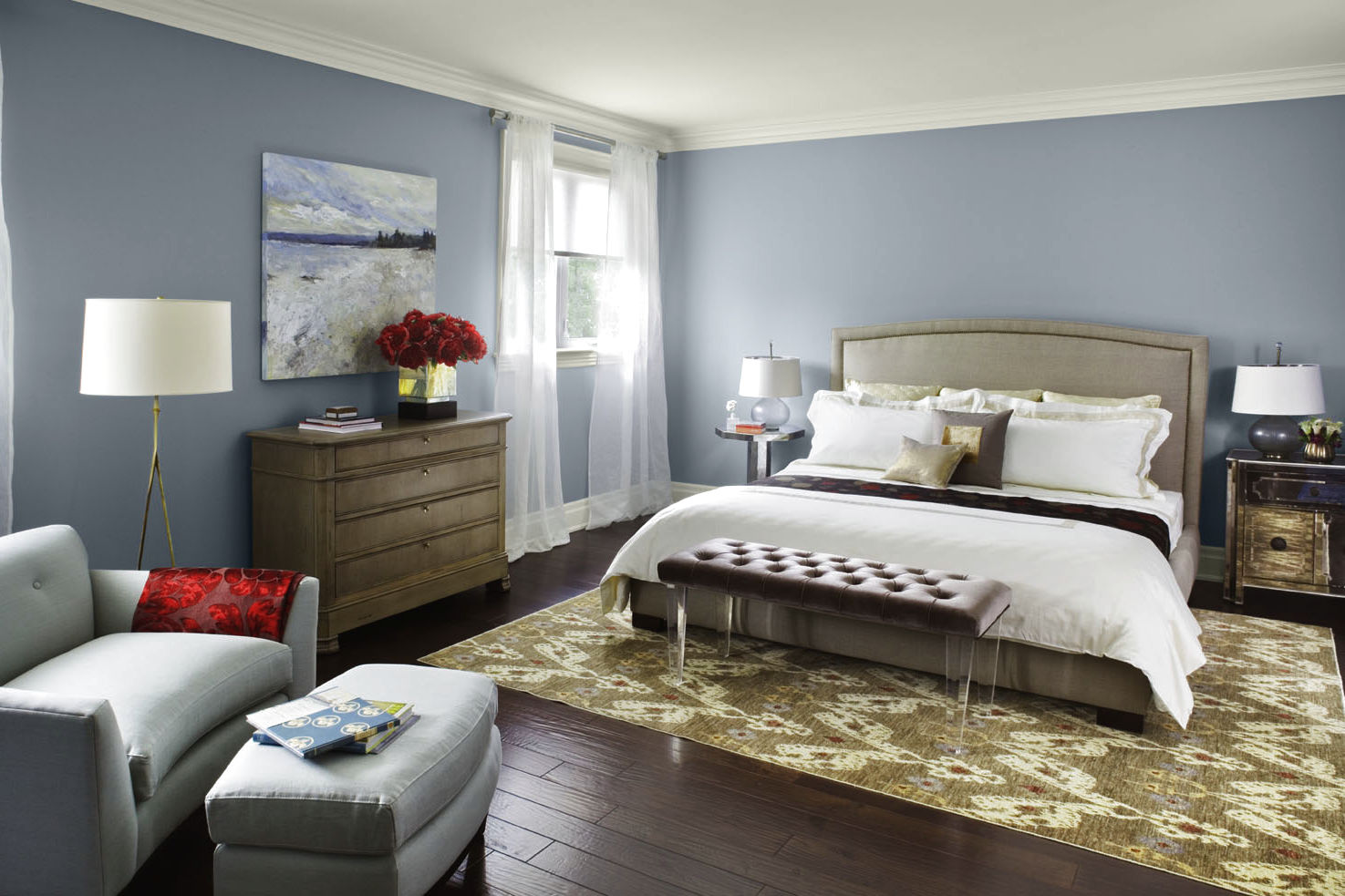 Grey Bedroom Paint Colors for Traditional Room with Wide Bed and Classic Dresser near Grey Sofa