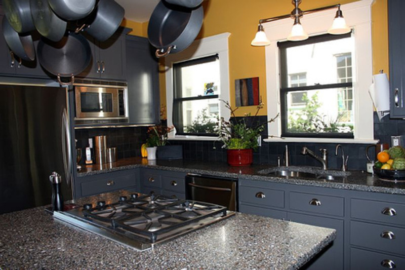 Grey Granite Countertop Balanced with Grey Painted Kitchen Cabinets with Island