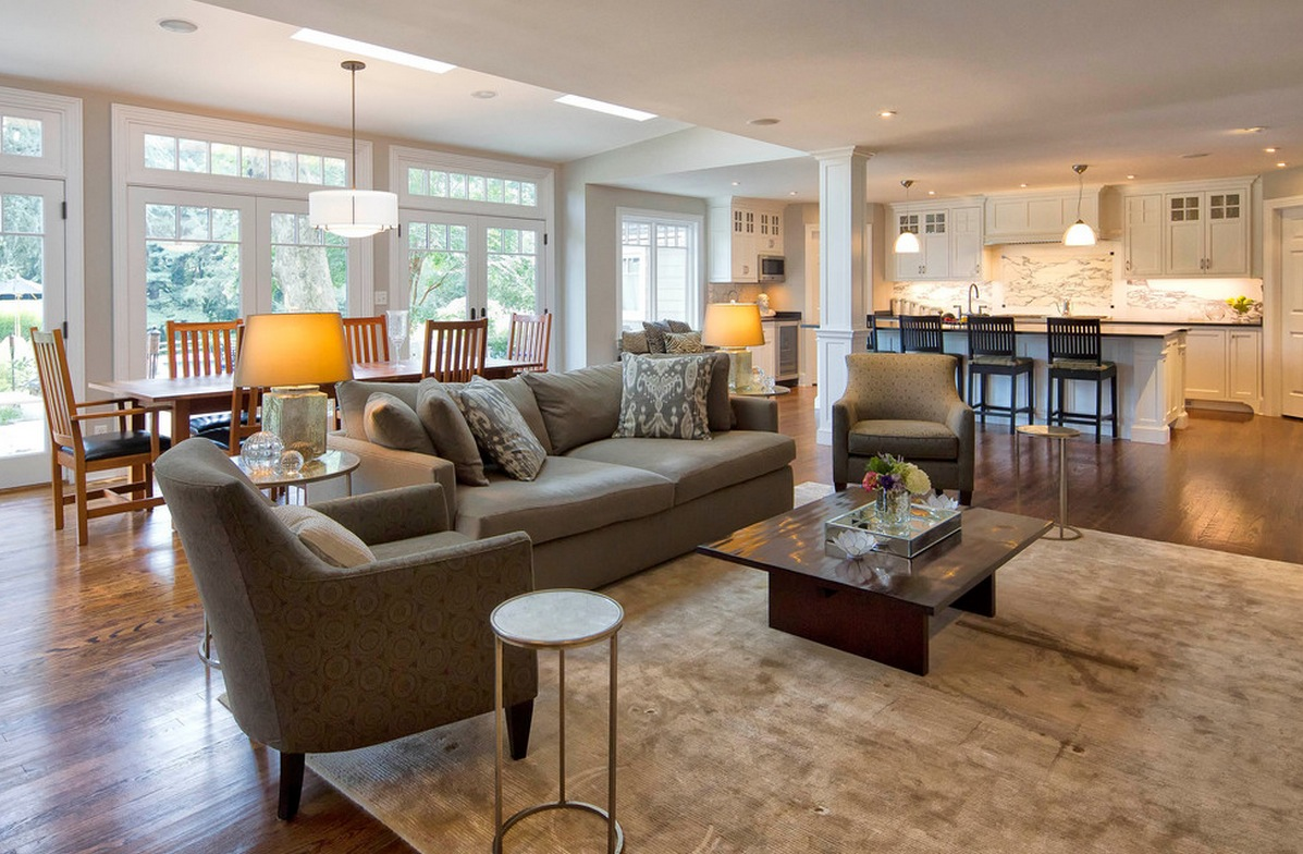 Grey Sofas and Low Coffee Table on Wide Carpet Used inside Simple Living Room using Open Floor Plans