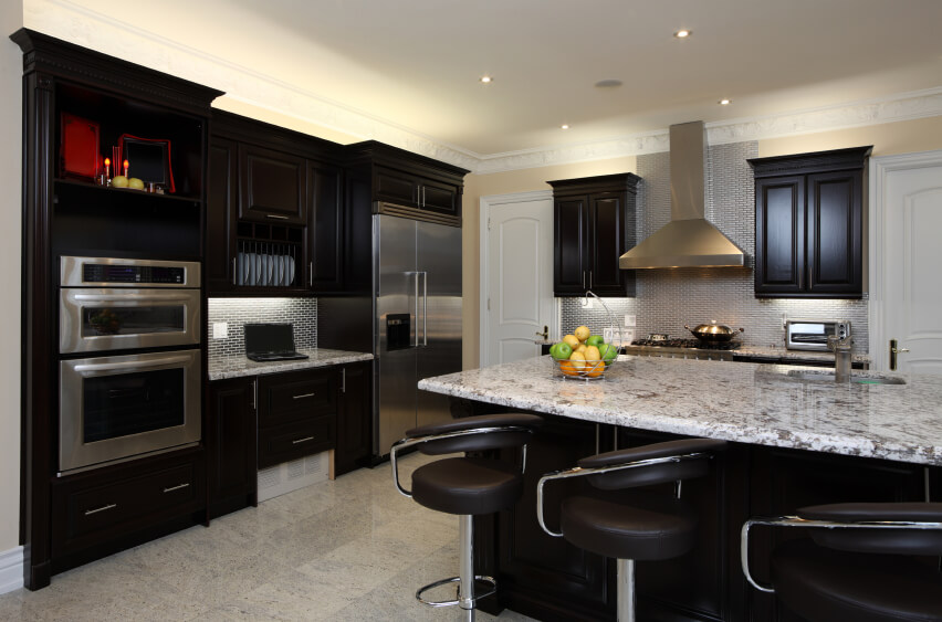 Grey Tile Backsplash Combined With Black Kitchen Cabinets Decorative Lighting Under Upper