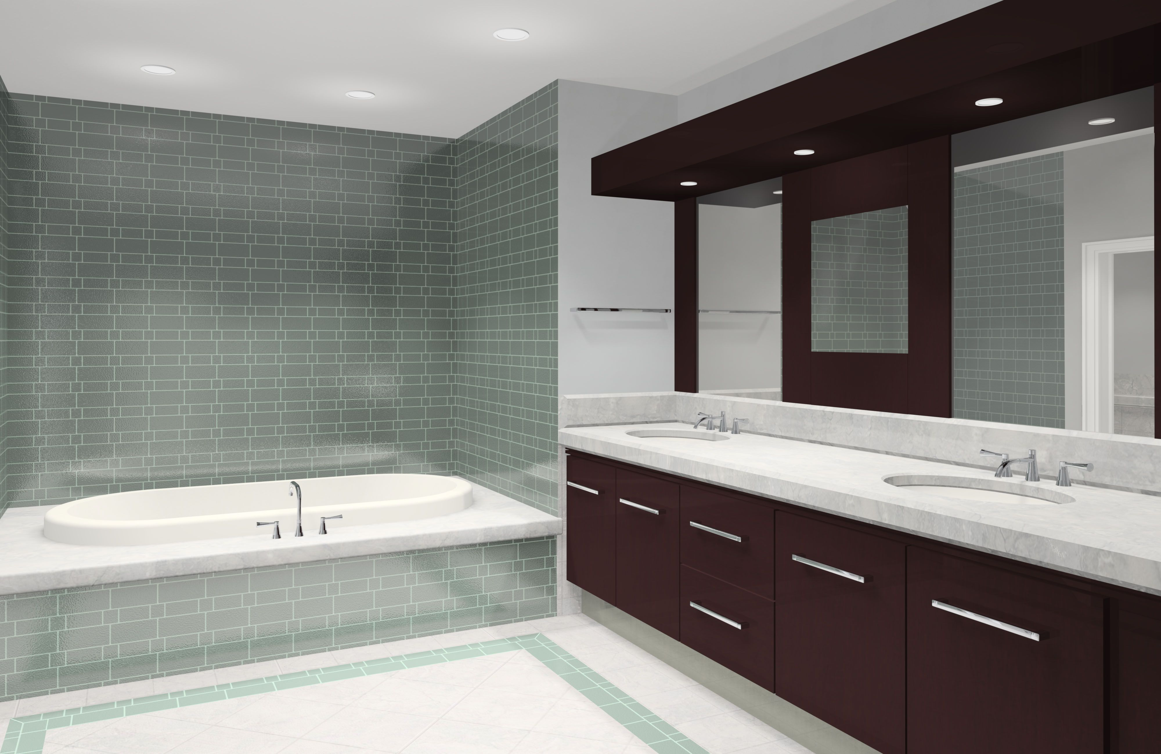 Grey Tile Wall Use in Awesome Bathroom Design Ideas with White Bathtub and Oak Vanity