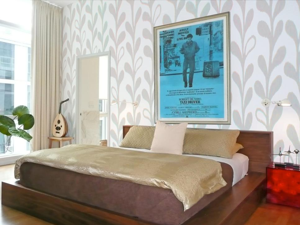 Impressive Grey Floral Wallpaper Supporting Natural Touch of Low Profile Wooden Bed