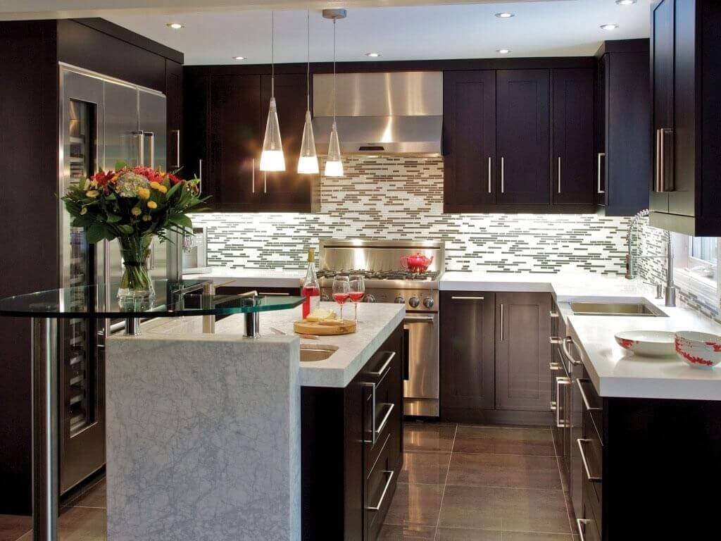 Impressive Patterned Backsplash to Complete Small Kitchen Remodel with Black Cabinet