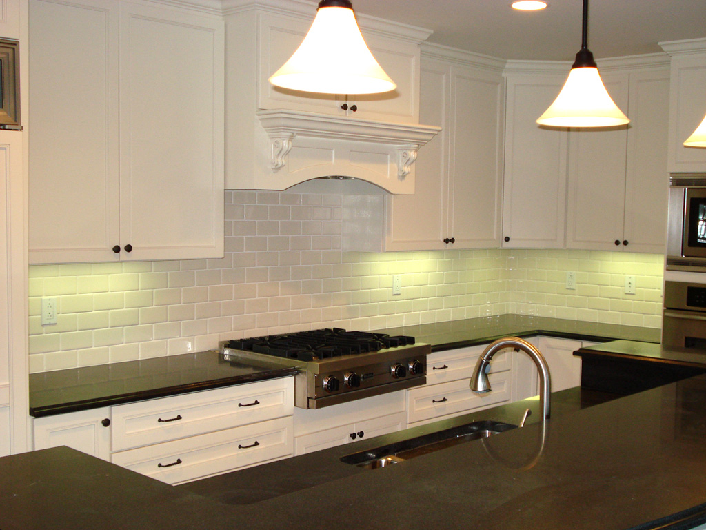 Improved White Subway Tile with Decorative Under Cabinet Lighting for Better Look