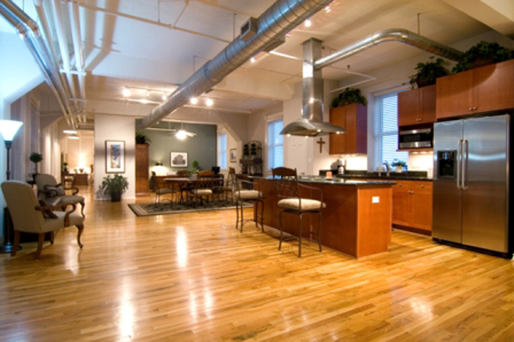 Industrial Style Kitchen Interior with Smart Floor Plan Interconnected to Dining Space