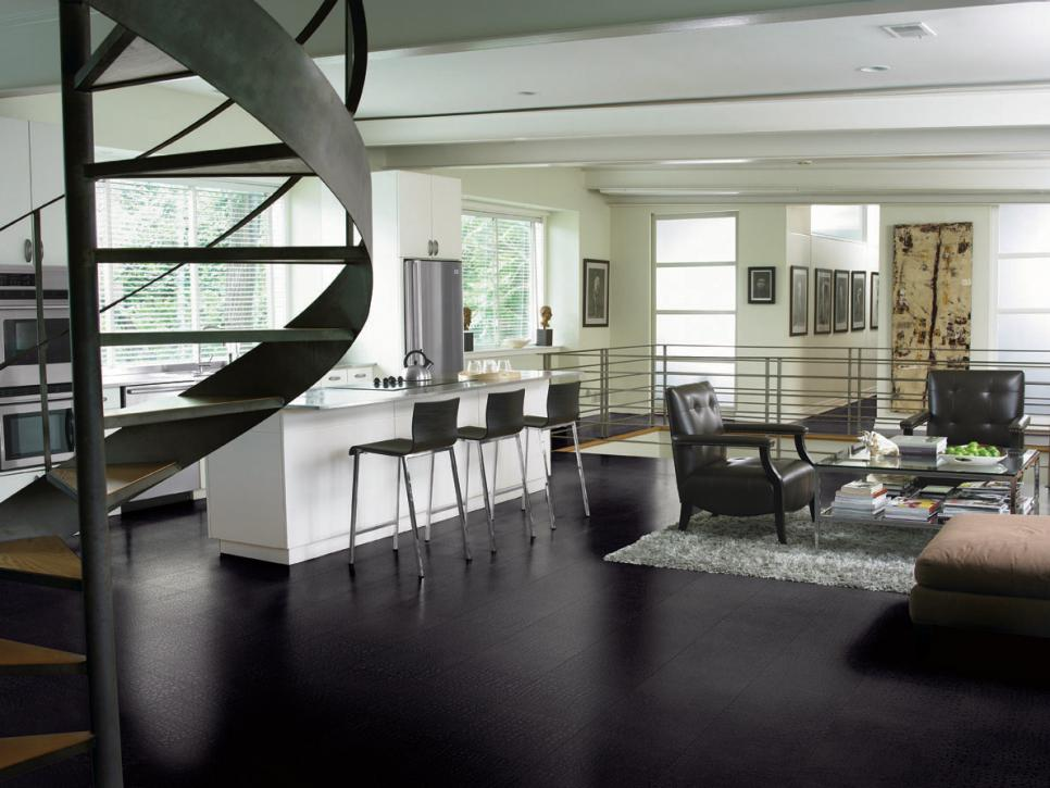 Genial Innovative Kitchen Flooring Ideas In Black To Create Alluring Accent For  Contemporary Kitchen